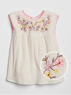 Baby Embroidered Crinkle Dress