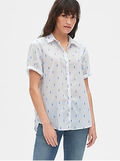 Print Roll Sleeve Shirt