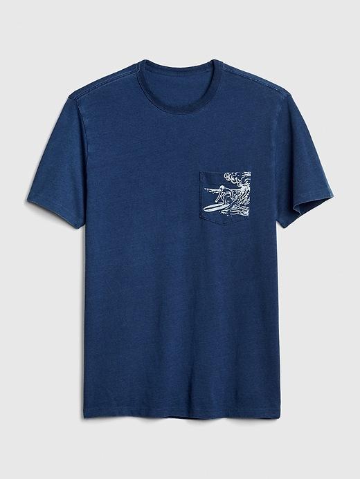 indigo-graphic-pocket-t-shirt by gap