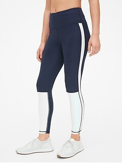 GapFit High Rise Colorblock Stripe Full Length Leggings in Eclipse