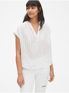 Short Sleeve Popover Shirt in Check Dobby