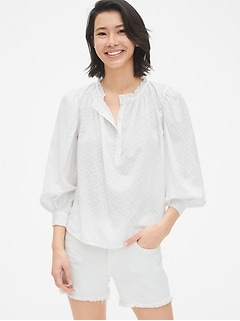 Ruffle-Neck Balloon Sleeve Blouse in Geo Clip-Dot