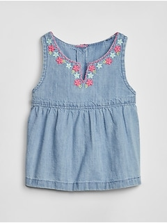 Baby Embroidered Denim Tank Top