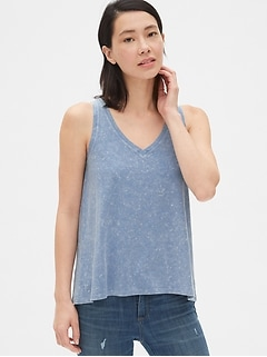 Vintage Wash V-Neck Tank Top