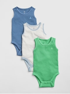 Baby Ribbed Tank Bodysuit (3-Pack)