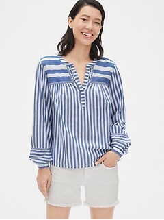 Embroidered Stripe Split-Neck Blouse