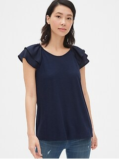Mix-Fabric Ruffle Sleeve Top