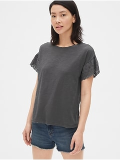 Eyelet Embroidered Ruffle Sleeve T-Shirt