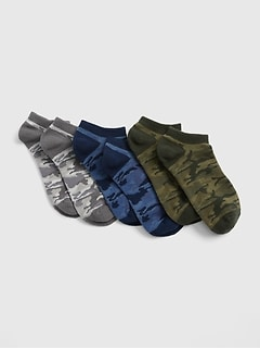 Kids Camo No-Show Socks (3-Pack)