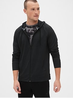 GapFit Brushed Tech Jersey Full-Zip Hoodie