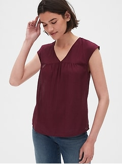 Cap Sleeve V-Neck Smock Top