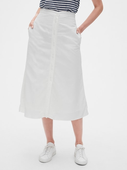 Button-Front Midi Skirt in TENCEL&#153
