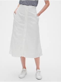 Button-Front Midi Skirt in TENCEL™