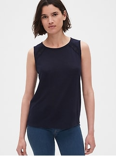 Lace-Insert Tank Top in Linen