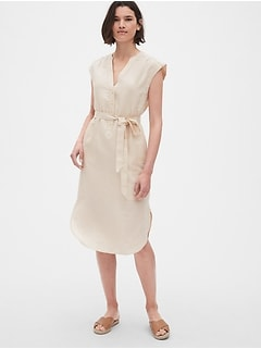 Popover Cap Sleeve Shirtdress in Linen-Cotton