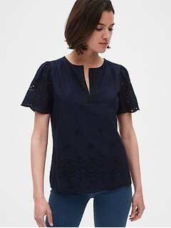 Eyelet Embroidered Split-Neck Top