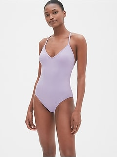 Colorblock Strappy V-Neck One-Piece Suit