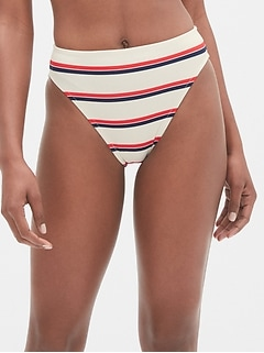High Leg Stripe Bikini Bottom