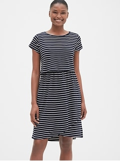 Maternity Stripe Layered Nursing T-Shirt Dress