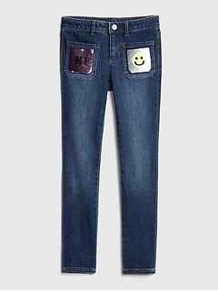 Kids Flippy Sequin Skinny Jeans with Fantastiflex