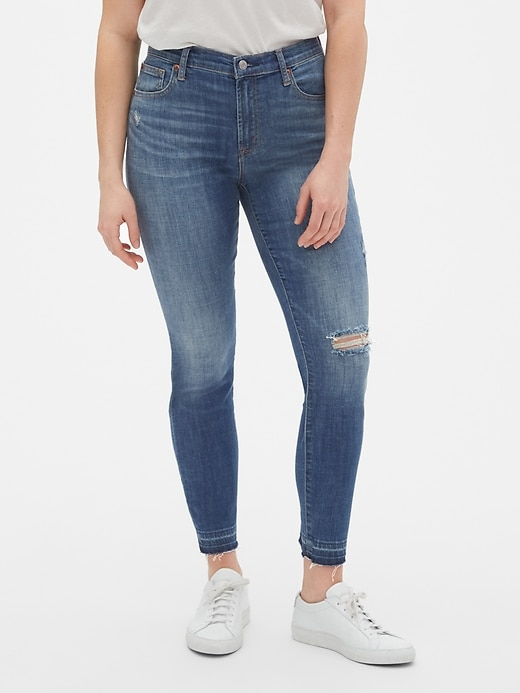 a54f8ecbb3 True Skinny Ankle Jeans with Distressed Detail