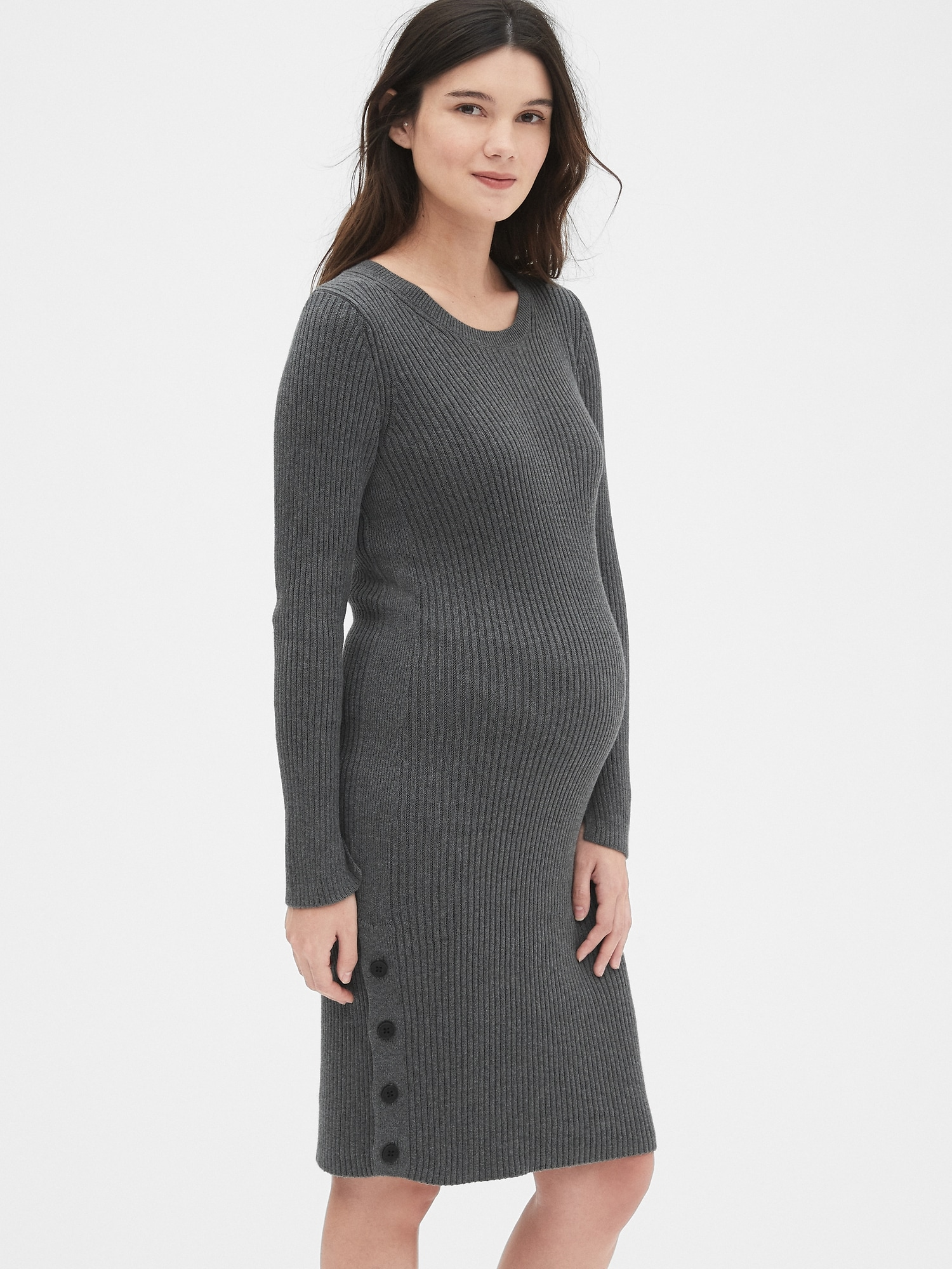 289dc6e0f9678 Maternity Maternity Long Sleeve Sweater Dress with Side Button Detail | Gap