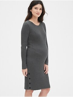 Maternity Maternity Long Sleeve Sweater Dress with Side Button Detail