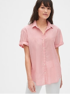 Roll Sleeve Stripe Shirt