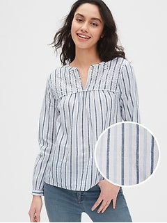 Eyelet Embroidered Stripe Blouse