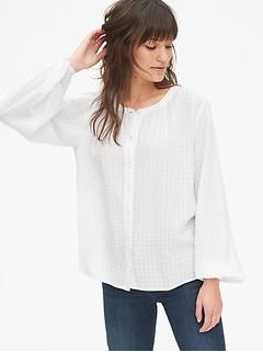 Blouson Sleeve Button-Front Blouse