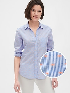 Fitted Boyfriend Stripe Shirt in Clip Dot