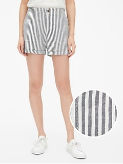 "5"" Girlfriend Chino Stripe Shorts in Linen-Cotton"