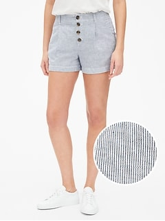 "3.5"" Pleated Stripe Shorts in Linen-Cotton"