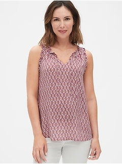 Maternity Print Tie-Neck Tank Top