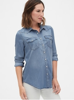 Maternity Denim Western Shirt in TENCEL™