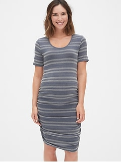 Maternity Ribbed Stripe  Ruched T-Shirt Dress