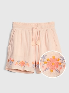 Kids Smocked Tassel Pull-On Shorts