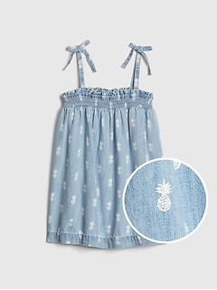 Kids Smocked Denim Tank Top