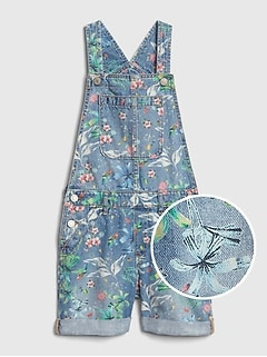 Kids Floral Denim Shortalls