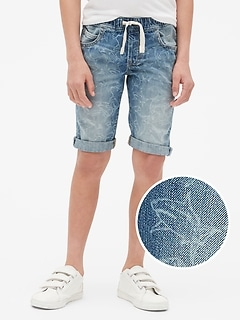 Kids Shark Denim Pull-On Shorts