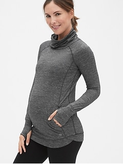 Maternity GapFit Breathe Cowl-Neck Pullover Sweatshirt
