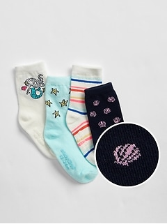 Toddler Mermaid Crew Socks (4-Pack)