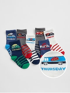 Toddler Truck Days-of-the-Week Crew Socks (7-Pack)