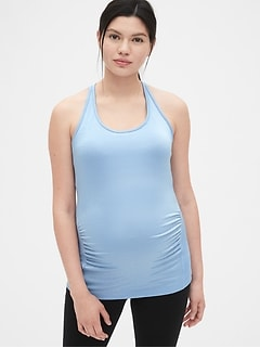 Maternity GapFit Breathe Metallic Stripe Shelf Tank Top