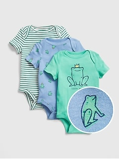 Baby Stripe Frog Bodysuit (3-Pack)
