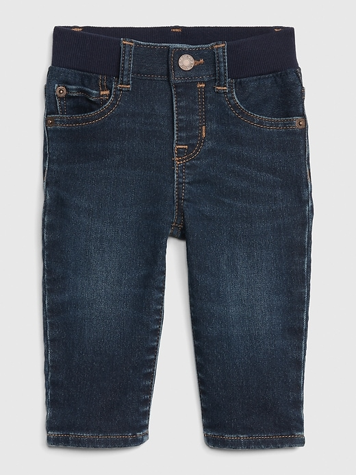Baby Knit-Denim Straight Jeans