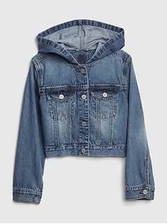 Kids Icon Hoodie Crop Denim Jacket