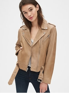 Leather Belted Moto Jacket