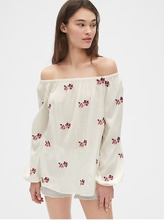 Floral Embroidered Off-Shoulder Blouse