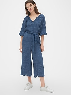 Blouson Sleeve Split-Neck Jumpsuit
